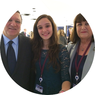 Elif with Jose Manuel Barroso, EU President