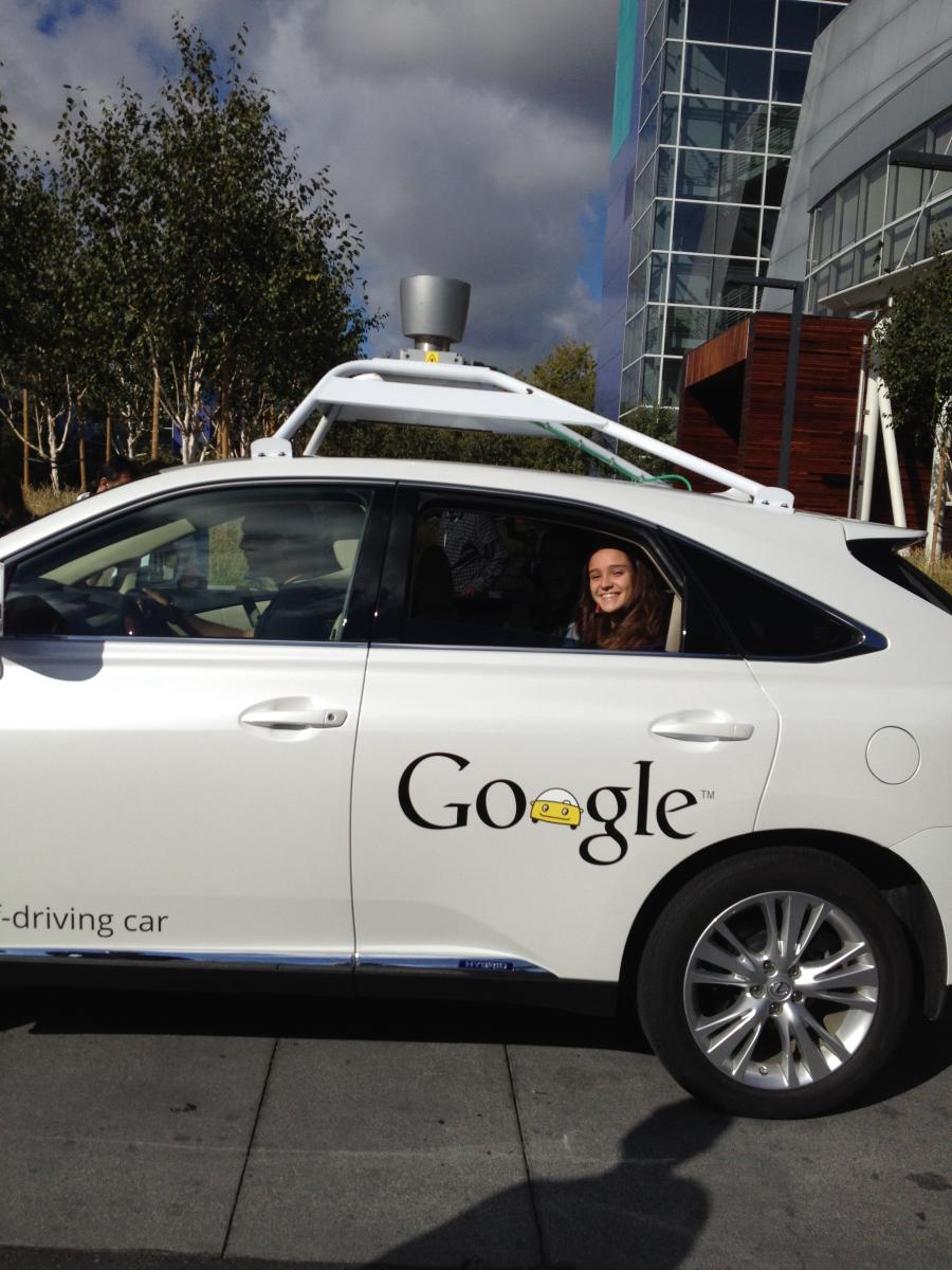 Elif at Google's Self-Driving Car